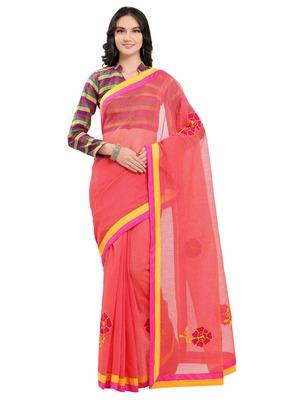 Pink kota cotton kota doria work saree with blouse