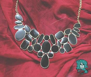 Brack Enamel Collar necklace