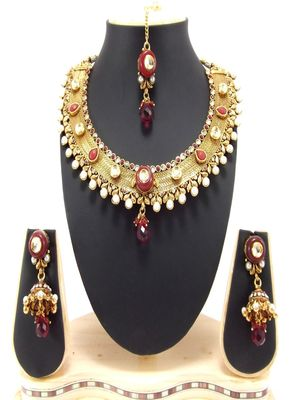 traditional ruby gold plated necklace set p62