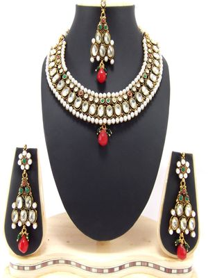 kundan ruby pearl gold plated jewellery necklace set p65