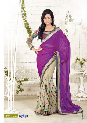 Sophisticated Wine & Chickoo Georgette Saree