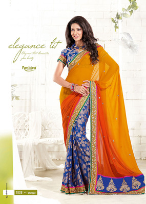 Passion Yellow, Orange & Blue Cotton Saree