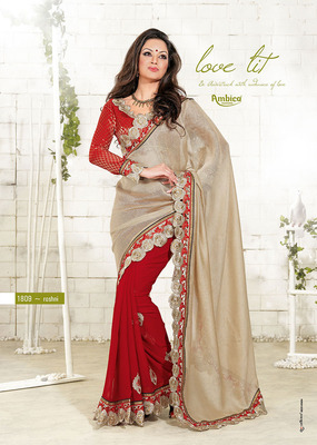 Brisk Chickoo & Red Georgette Saree