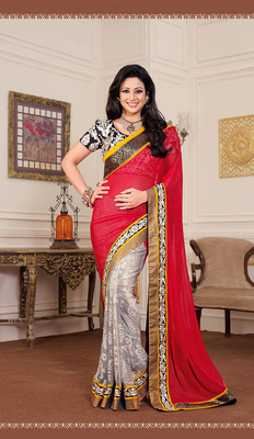 Glistening Black & Red Chiffon Saree