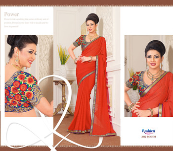 Classic Red Georgette Saree