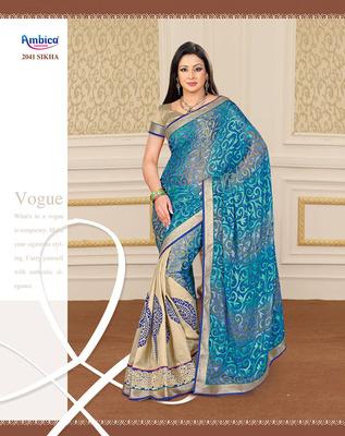 Glamorous Blue Brasso & Silk Saree