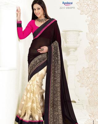 Captivate Pink, Black & Cream Jacquard Saree