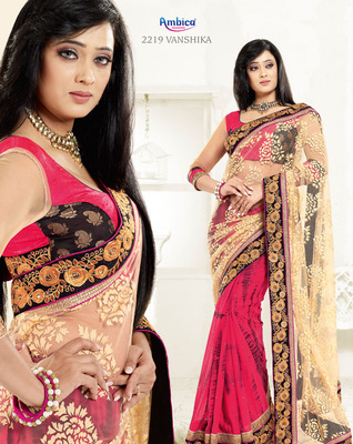 Debonair Pink & Blue Georgette Saree