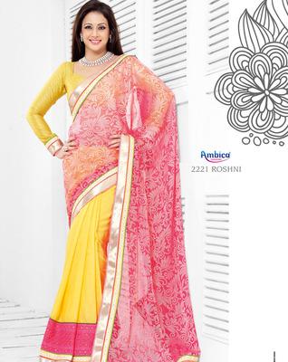 Sensational Yellow & Pink Brasso Silk Saree