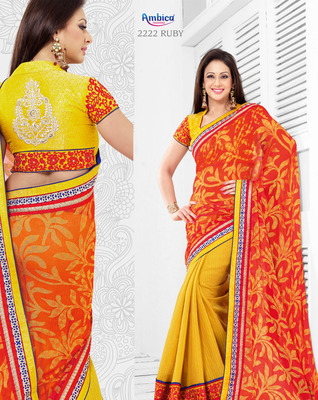 Passion Yellow & Red Cotton Saree