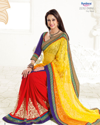 Enthralling Yellow, Pink & Red Polyester Cotton Saree