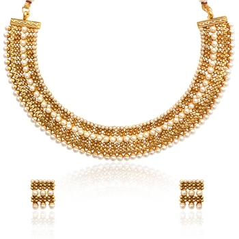 White Metal Alloy With Necklace And Earrings Jewellery Set for Women