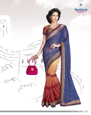 Beautiful  Blue Polyester Saree With Embroidery Work