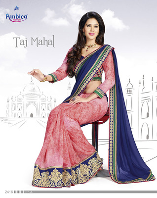 Passion Pink & Blue chiffon Saree With Embroidery Work