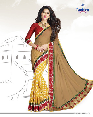 Gratifying Yellow & Red jacquard Saree  With Embroidery Work