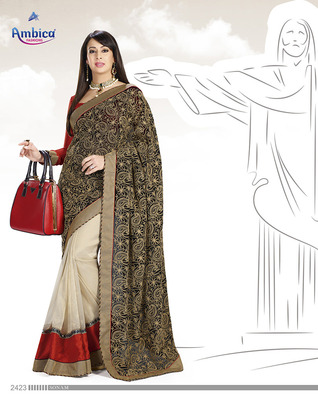 Tantalizing Multicolor Georgette Saree  With Embroidery Work