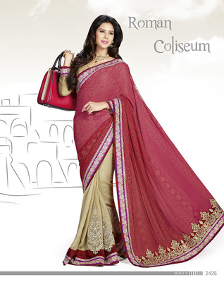 Engrossing Red Silk Saree  With Embroidery Work