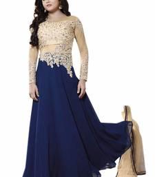 Buy Blue embroidered georgette salwar with dupatta salwar-kameez-below-2000 online