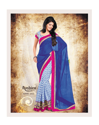 Gorgeous Blue & Pink Chiffon Saree With Embroidery Work