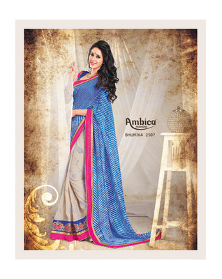 Glistening Blue chiffon Saree With Embroidery Work