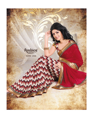 Brazen Red chiffon Saree With Embroidery Work