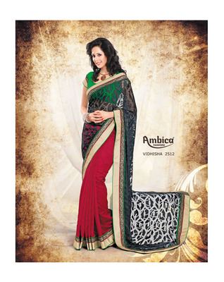 Passion Black & Red  silk Saree With Embroidery Work