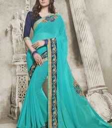 Buy Turquiose embroidered georgette saree with blouse designer-embroidered-saree online