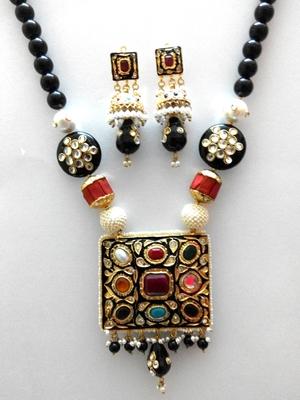 designer navratan black beads necklace