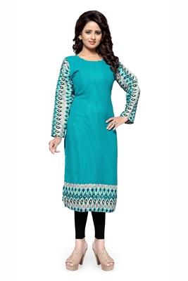 Turquoise plain georgette stitched kurtas-and-kurtis
