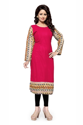 Crimson plain georgette stitched kurtas-and-kurtis