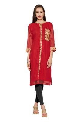 Red printed georgette stitched kurtas-and-kurtis