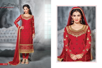 Red Embroidery Georgette unstiched  party wear salwar kameez
