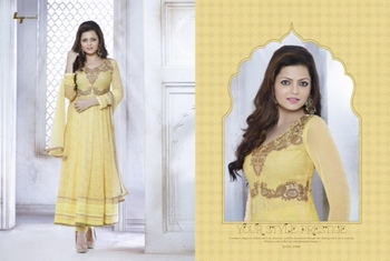 Yellow Embroidery Georgette unstiched  party wear salwar kameez