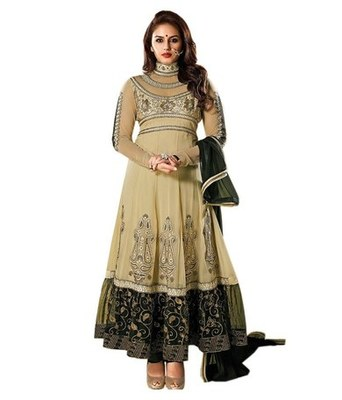 Peachpuff Embroidery Georgette unstiched  party wear salwar kameez
