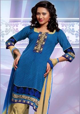 BLUE COTTON UNSTITCHED  dress material with dupatta