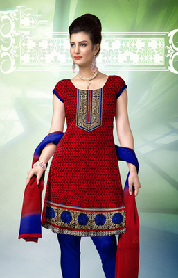 RED  COTTON UNSTITCHED  dress material with dupatta
