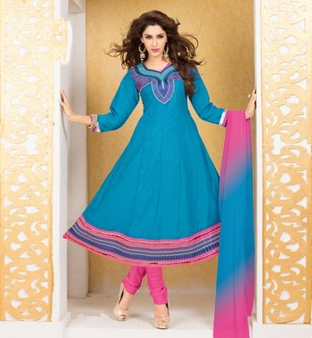 sky blue Fancy Dress Material with matching duppata DAB3007