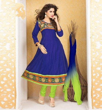 blue Printed Suits with matching duppata DAB3008