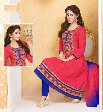 red Printed Designer Suits with matching duppata DAB3009