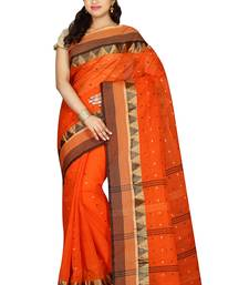 Buy Orange hand woven cotton saree with blouse handloom-saree online