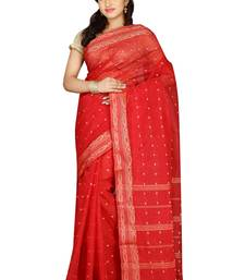 Buy Red hand woven cotton saree with blouse handloom-saree online