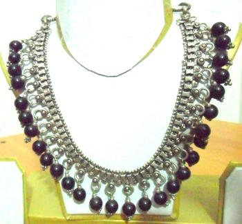 German Silver Black Onyx Neckpiece