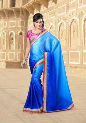 Blue Partywear Designer Chiffon Saree
