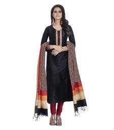 black plain raw_silk stitched salwar with dupatta
