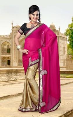 Pink Partywear Designer Chiffon Saree