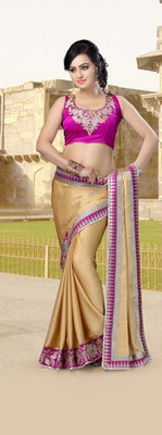 Cream Partywear Designer Chiffon Saree