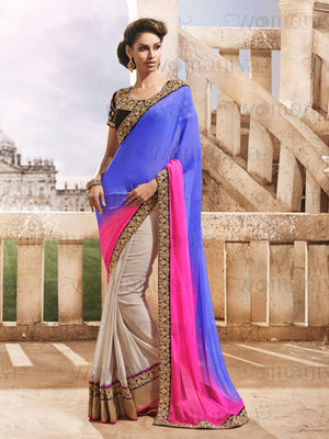 Purple Partywear Designer Georgette Saree
