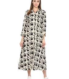 Buy Jaipur Kurti Women's Maxi Off White Dress dress online