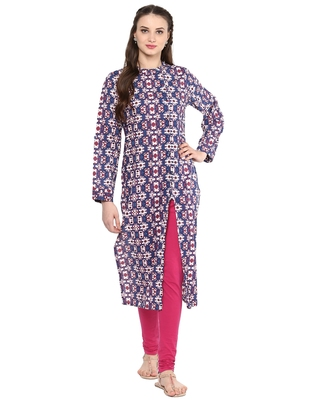 Jaipur Kurti Women's Cotton Blue Colour Kurti