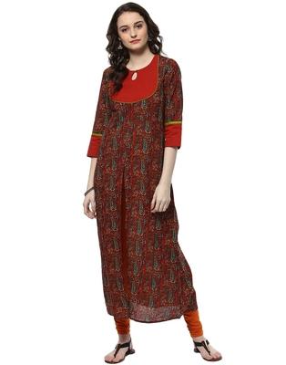Jaipur Kurti Women's Cotton Red Colour Kurti